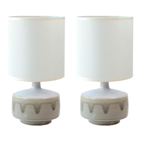 Table Lamp - E14 40W 290mm White and Mint Set of Two