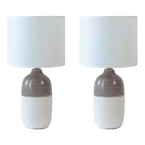 Table Lamp - E14 40W 385mm White and Grey Set of Two