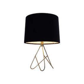 Table Lamp - E14 40W 390mm Antique Brass and Black