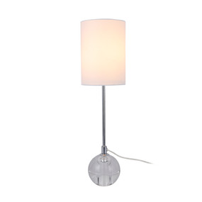 Table Lamp - E27 60W 480mm White, Chrome and Clear