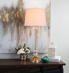 Table Lamp - E27 60W 650mm White and Antique Brass