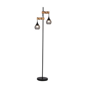 Floor Lamp - E27 120W 1640mm Timber and Black