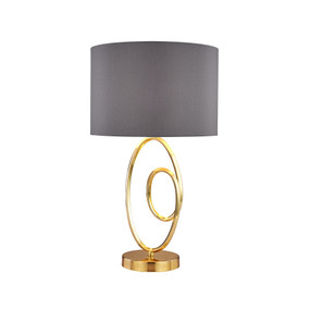 Table Lamp - E27 60W 520mm Grey and Brass