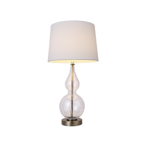 Table Lamp - E27 60W 580mm White, Clear and Antique Brass