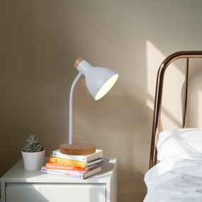 Desk Lamp - E27 60W 370mm White and Timber
