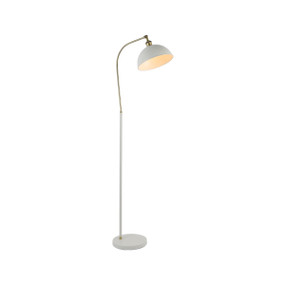 Floor Lamp - E27 40W 1500mm White and Brass