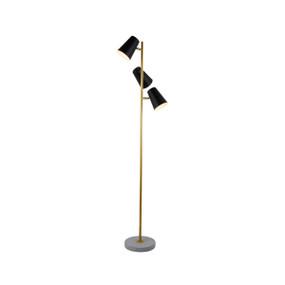 Floor Lamp - E27 180W 1700mm Black, Brass and Concrete