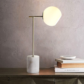 Table Lamp - E27 60W 520mm Antique Brass and White