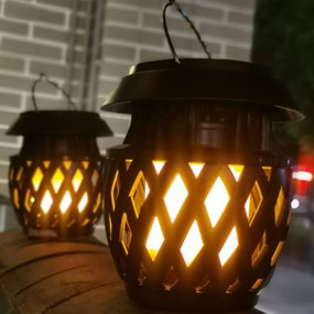 Solar Lantern Light - Flickering Flame With Solar Panel and USB