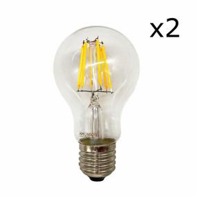 E27 LED Filament Globe - 6W 650lm IP20 2200K 108mm Clear Set of Two
