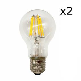 E27 LED Filament Globe - 6W 650lm IP20 2200K 138mm Clear Set of Two