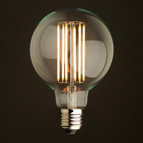 E27 LED Filament Globe - 6W 550lm IP20 2200K 138mm Clear Set of Two