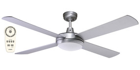 Ceiling Fan With Light and Remote - 132cm 52inch 28.5W Tri Colour Brushed Aluminium 5 Speed
