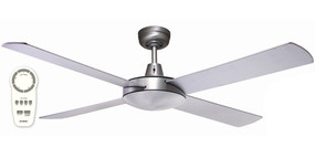 Ceiling Fan With Remote - 132cm 52inch 28.5W Brushed Aluminium 5 Speed