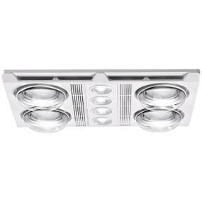 3-in-1 Bathroom Heater Fan Light - 2680lm 3000K 480mm White