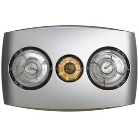 3-in-1 Bathroom Heater Fan Light - 205mm Silver