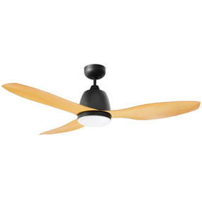Ceiling Fan With Light - 122cm 48inch 50W Matte Black and Bamboo 3 Speed