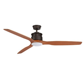 Meti Ceiling Fan With Light - 152cm 60inch 70W Old Bronze and Teak 3 Speed