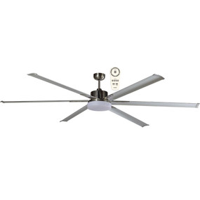 Majo Ceiling Fan With Light and Remote - 180cm 72inch 35W Brushed Nickel 5 Speed
