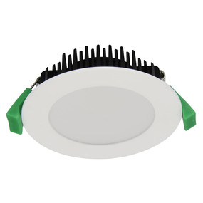 LED Downlight - Dimmable 10W 750lm IP44 Tri Colour 101mm Satin White - Min10