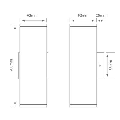 Rectangular 240V 6W Two Way LED Wall Light - Anodised Finish / Warm White LED