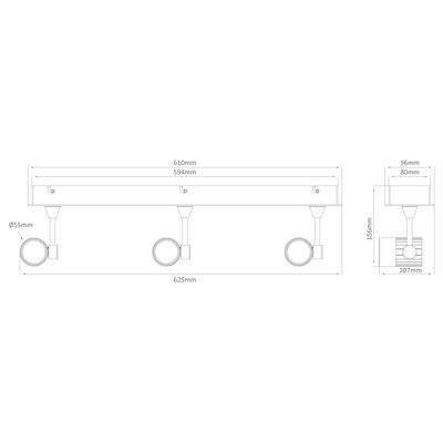 Triple LED Bar Spotlight - Silver Finish / Warm White LED