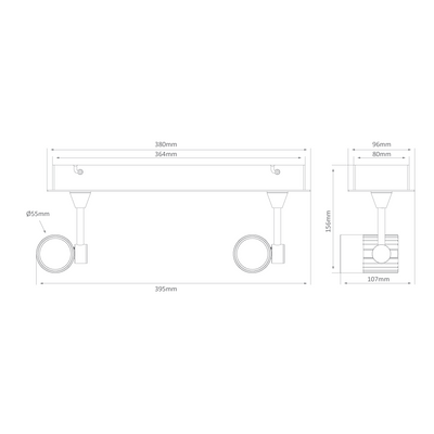 Twin LED Bar Spotlight - White Finish / Warm White LED