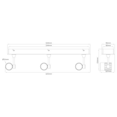 Triple LED Bar Spotlight - Silver Finish / White LED