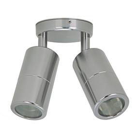 Marine Grade Ceiling Spotlight - 2 Adjustable 70W GU10 IP65 3000K 175mm Titanium Silver - Min10