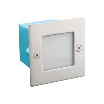 Mini Square 240V 0.8W Recessed LED Steplight - Stainless Steel Fascia / White LED