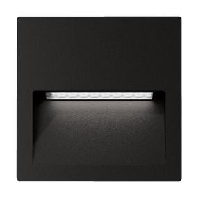 Wall Light - Vandal Resistant 4W 200lm IP65 IK08 3000K 115mm Square Black - Min10