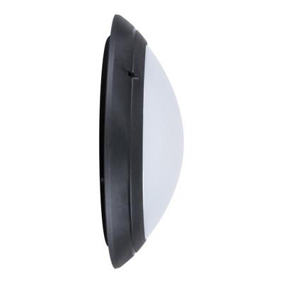 Round 240V Polycarbonate Wall Light - Black Finish / E27