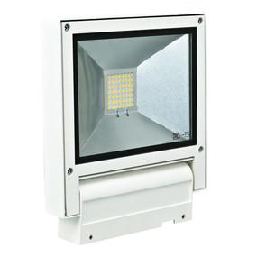 Adjustable 240V 20W LED Floodlight - White Finish / Warm White LED