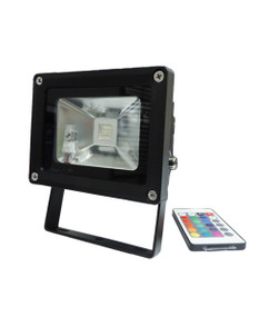 Flood Light with Remote Control - 240V 10W RGB IP65 115mm Black - Min10