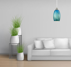 Modern Pendant Light, Blue - Handcrafted Glass, Variable Cord - Min10
