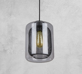 Glass Pendant Light - Industrial Style With Black Mesh - Min10