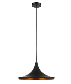 Pendant Light - Smooth Mexican Hat Shaped 170mm 72W Black and Gold - Min10