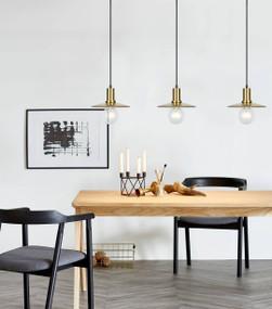 Pendant Light - 72W E27 220mm Amber Glass and Antique Brass - Min10
