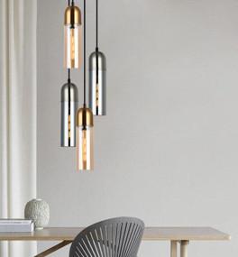 Pendant Light - 72W E27 80mm Amber Glass and Antique Brass - Min10