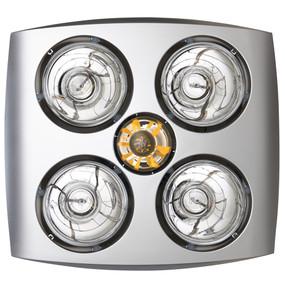 3-in-1 Bathroom Heater Fan Light - 400mm Silver - Min10