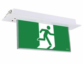Emergency Exit Sign - Industrial Strength LED 2W 24m Recessed 2 Hours Green Blade - Min10