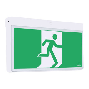 Emergency Exit Sign - Industrial Strength LED 2W 24m Surface Mounted 2 Hours Green - Min10