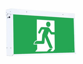 Emergency Exit Sign Extra Large - Industrial Strength LED 6W 48m Surface Mounted 2 Hours Green - Min10