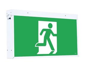 Waterproof Vandal Proof Emergency Exit Sign - Industrial Strength LED 2W IP67 IK10 24m 2 Hours Green - Min10