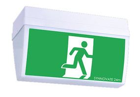 Emergency Exit Sign - Industrial Strength Ceiling Mounted Wide Base LED 2W 24m 2 Hours Green - Min10