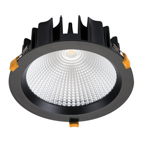 LED Downlight - Dimmable 35W 3100lm IP44 3000K 225mm Black Commercial Grade - Min10