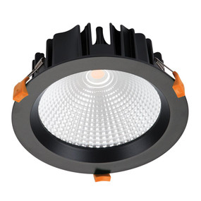 LED Downlight - Dimmable 25W 2200lm IP44 3000K 190mm Black Commercial Grade - Min10