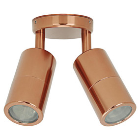 Outdoor Contemporary 2 Light Adjustable LED GU10 Spotlight - Copper - Min10