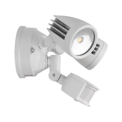 Twin Head 30W LED Spotlight with Sensor - White Finish / White LED
