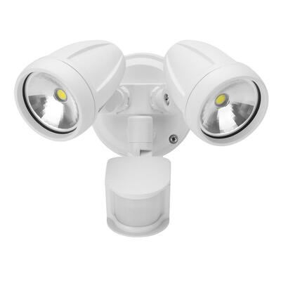 Twin Head 26W LED Spotlight with Sensor - White Finish / White LED